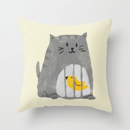 A cat that swallows a bird Throw Pillow