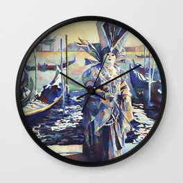 Painting of  masked person during Carnival in Venice, Italy. Wall Clock