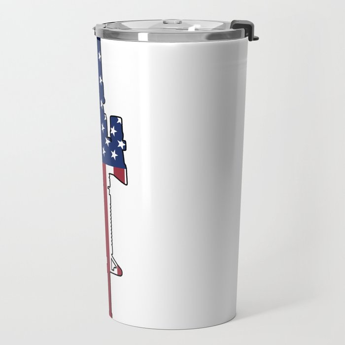 American Flag: M4 Assault Rifle Travel Mug