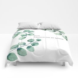 Grow wherever you are planted watercolor florals Comforters