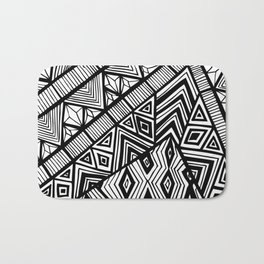 Original Geometric ink-pen print Bath Mat