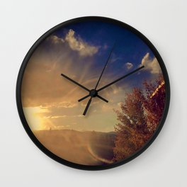 Colorado Flag in a Sunset Wall Clock
