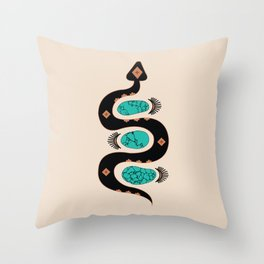 Southwestern Slither in Black Throw Pillow