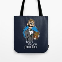 how i met your mother Tote Bags featuring How I Met Your Plumber by Mike Handy Art