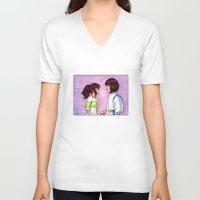 chihiro V-neck T-shirts featuring Chihiro and Haku by Kimberly Castello
