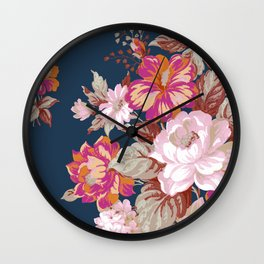 Vintage Floral on Blue Wall Clock