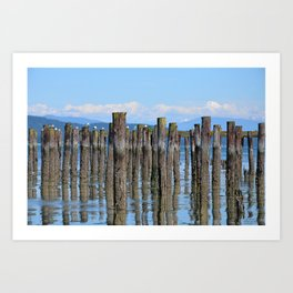 LOW TIDE ILLUSIONS AND MOUNT BAKER NEAR ANACORTES NORTHWEST Art Print
