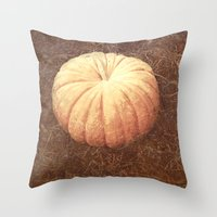 pumpkin Throw Pillows featuring Pumpkin by Yellowstone Photo Studio