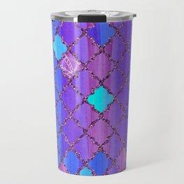 Moroccan Tile Pattern In Purple And Aqua Blue Travel Mug