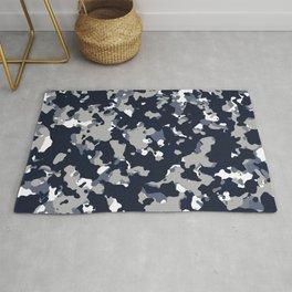 Blue Grey Camouflage Rug