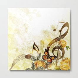 Butterfly Music Notes Metal Print