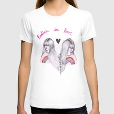 Ladies in Love MEDIUM White Womens Fitted Tee