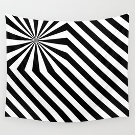 Stripes explosion - Black Wall Tapestry