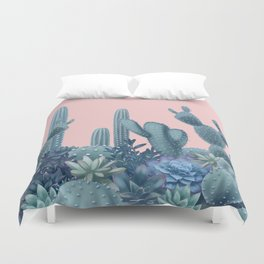 Milagritos Cacti on Rose Quartz Background Duvet Cover