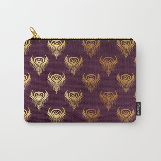 Purple gold peacock feather Carry-All Pouch