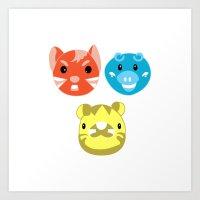 Neon Pop Animal Trio Art Print