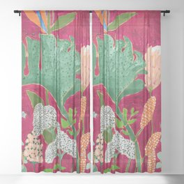 Magenta Jungle Painting, Monstera, Birds of Paradise Floral on Pink Jewel Tone Sheer Curtain