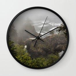 Fog Over Natural Bridges Wall Clock