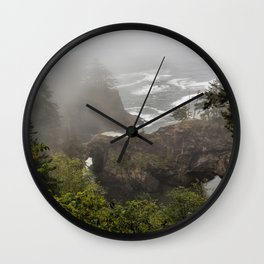 Fog Over Natural Bridges Wall Clock