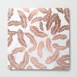 Modern rose gold handdrawn feathers pattern white marble Metal Print