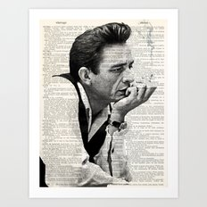 Johnny Cash smoking a cigarette over Vintage Dictionary Page Art Print