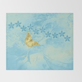 butterfly and flowers in an abstract blue grunge landscape Throw Blanket