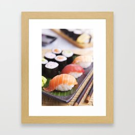 Various Japanese sushi on a plate, shallow depth of field Framed Art Print