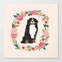 bernese mountain dog floral wreath dog gifts pet portraits Canvas Print