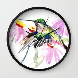 Hummingbird and Light Purple Flowers Wall Clock
