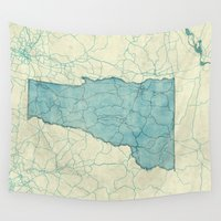 vermont Wall Tapestries featuring Vermont State Map Blue Vintage by City Art Posters