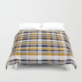 Modern Retro Plaid in Mustard Yellow, White, Navy Blue, and Grey Duvet Cover
