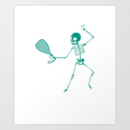 Racquet Sports Players Rubber Ball Paddleball Skeleton Racquetball Gift Art Print