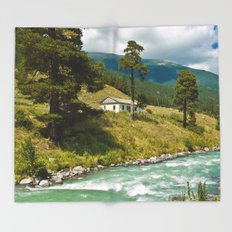 house at the mountain river Throw Blanket