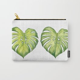 Two monstera leaves in watercolor Carry-All Pouch
