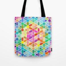 Rainbow Honeycomb with Stars Tote Bag
