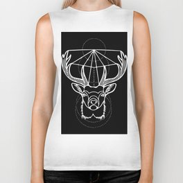 Geometric Stag Deer Head in White Biker Tank