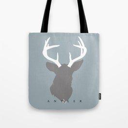White Antlers on Deer Grey Silhouette Tote Bag