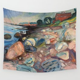 Shore with Red House by Edvard Munch Wall Tapestry
