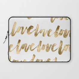 Gold Love Quote Pattern Typography Script Laptop Sleeve