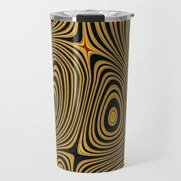 BUZZ - concentric circles of black and yellow abstract design Travel Mug