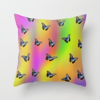 butterflies Throw Pillows featuring Butterflies by Fine Art by Rina