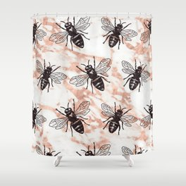 Bees on rose gold marble Shower Curtain