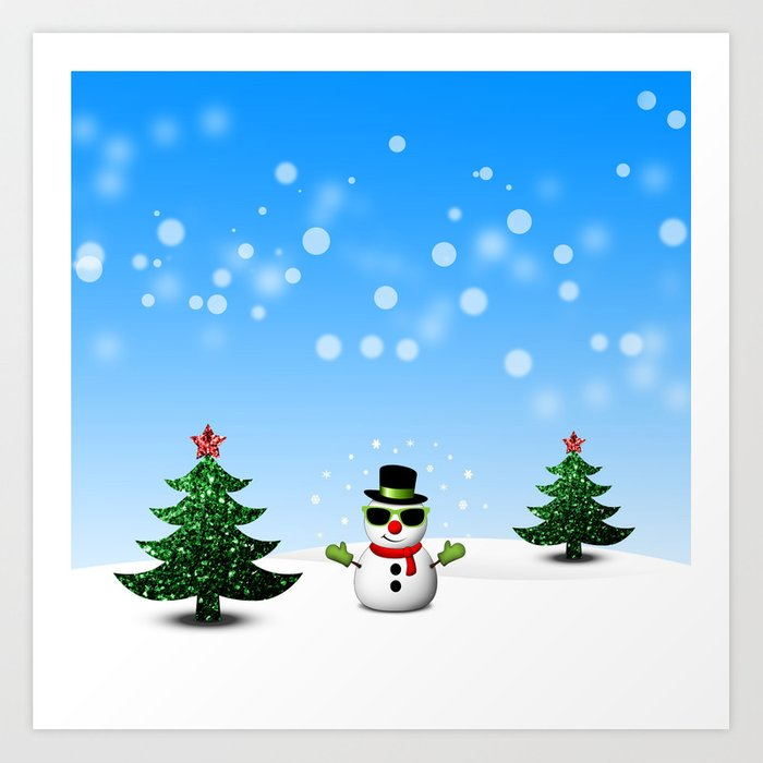 Cool Snowman and Sparkly Christmas Trees Art Print