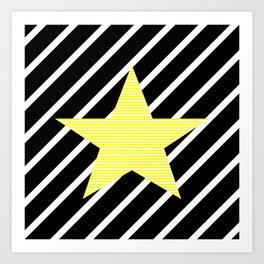 Star - Abstract geometric pattern - black and yellow. Art Print