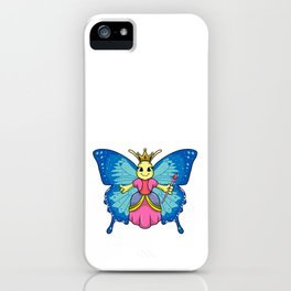 Butterfly as Queen with Crown and Magic wand iPhone Case