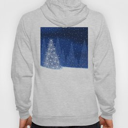 Snowy Night Christmas Tree Holiday Design Hoody