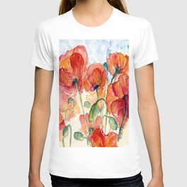 Tangerine Orange Poppy field WaterColor by CheyAnne Sexton T-shirt