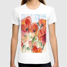 Tangerine Orange Poppy field WaterColor by CheyAnne Sexton T-shirt