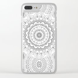 MOONCHILD MANDALA BLACK AND WHITE Clear iPhone Case