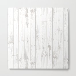 Wooden Planks - White Metal Print